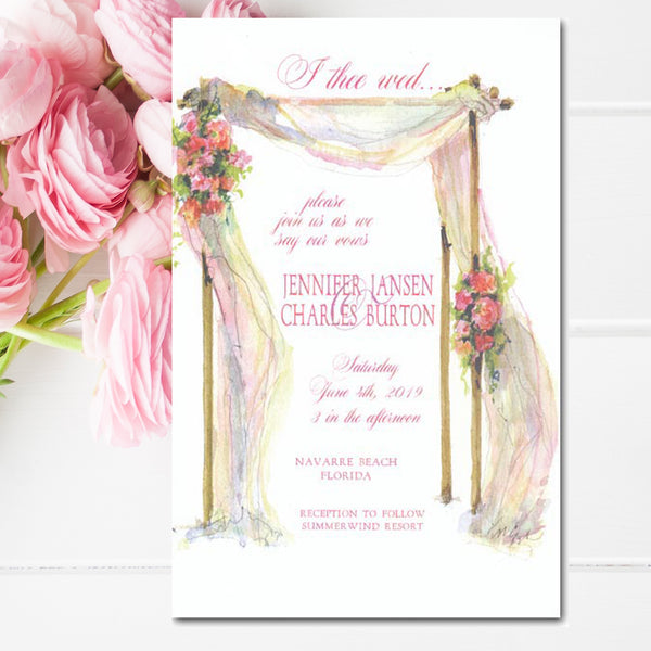 bridal shower invitations with arbor and flowers