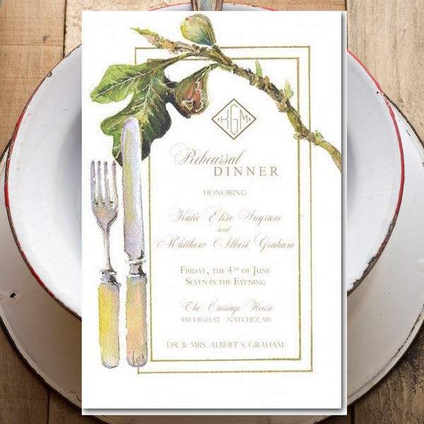 wedding rehearsal dinner invitations with fig and fork