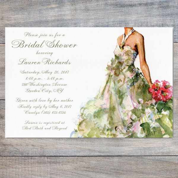 bridal shower invitations with bride holding bouquet