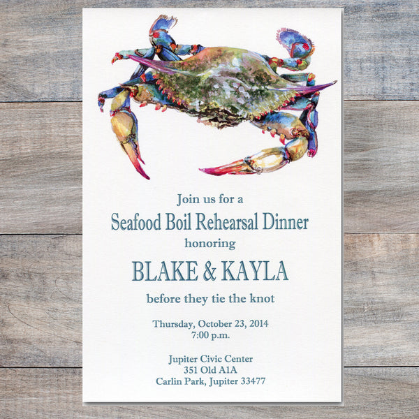 seafood boil invitation with blue crab