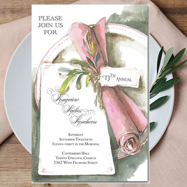 bridal bridesmaid luncheon invitations with pink napkin
