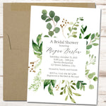 bridal shower invitations with green leaf frame