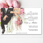 wedding shower invitations with bride and groom sitting side by side