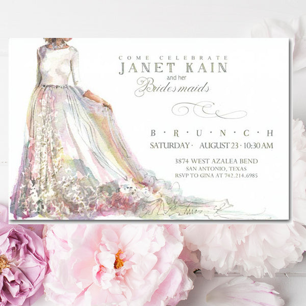 bridal shower invitations with bride and wedding gown
