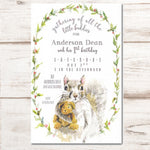 neutral baby shower invitations with squirrel holding teddy bear