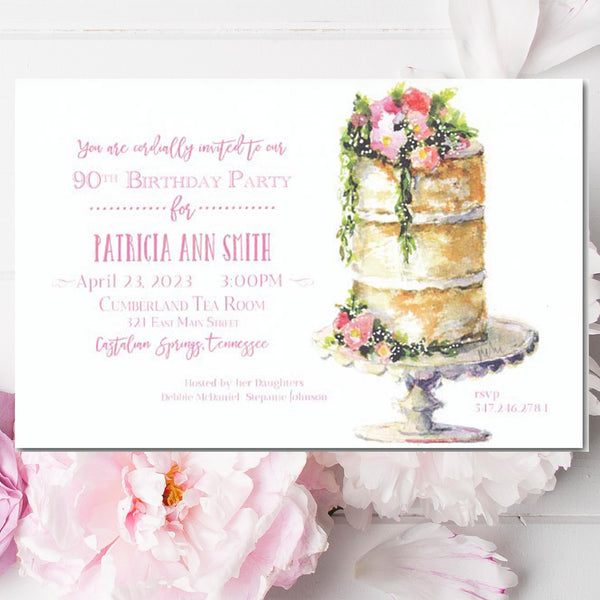 bridal shower invitations with naked cake with flowers