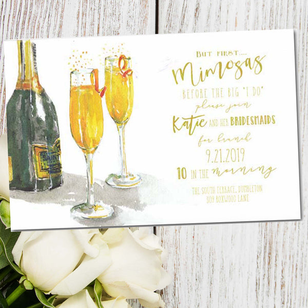 post wedding brunch invitations with mimosas