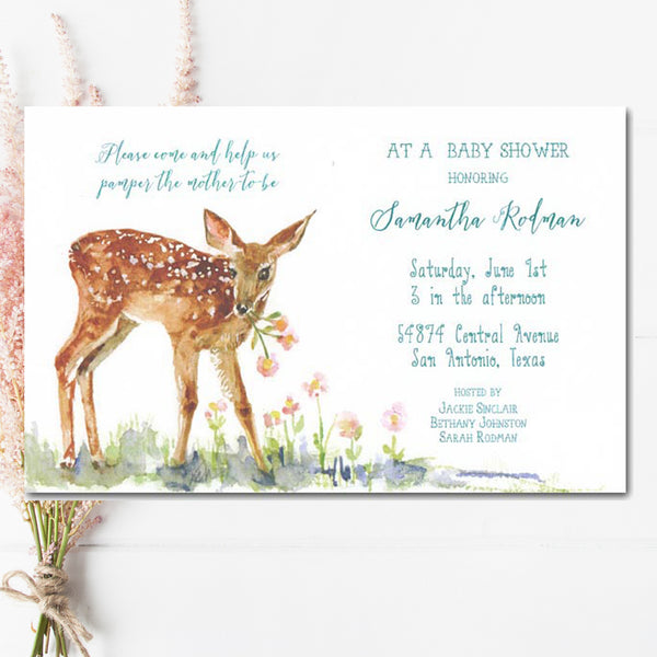 neutral baby shower invitations with fawn nibbling on flowers