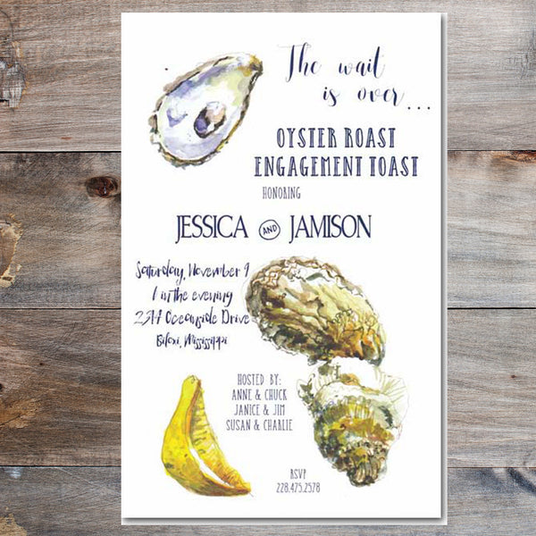 oyster roast invitation with oyster shells and lemon wedge