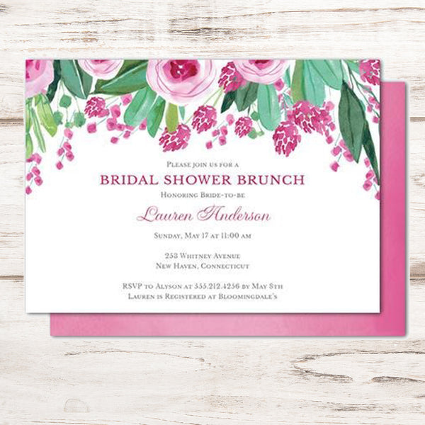 bridal shower invitations with plum colored hand painted flowers