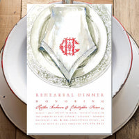 rehearsal dinner invitations with porcelain plate and linen napkin