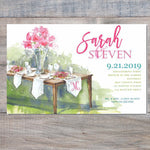 rehearsal dinner invitations with wooden table and pink flowers