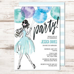 birthday party invitations with party girl holding bouquet of blue balloons