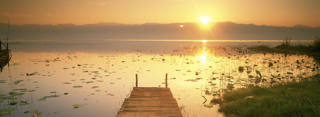 View Of The Sunset And Pier, Inle Lake, Myanmar