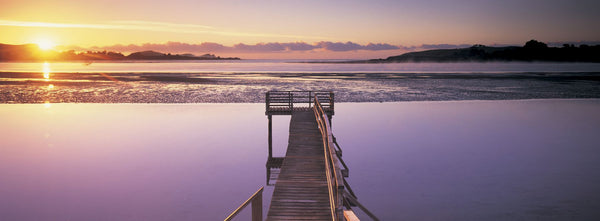 High angle view of a pier on a river, Pounawea, The Catlins, South Island New Zealand, New Zealand