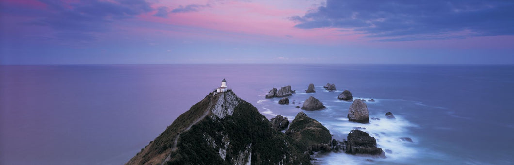 High angle view of a lighthouse, Nugget Point, The Catlins, South Island New Zealand, New Zealand