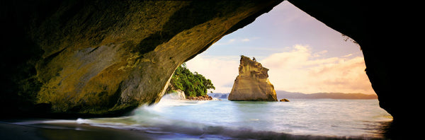 Rock formations in the Pacific Ocean, Cathedral Cove, Coromandel, East Coast, North Island, New Zealand