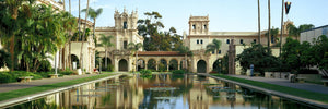Reflecting pool in front of a building, Balboa Park, San Diego, California, USA