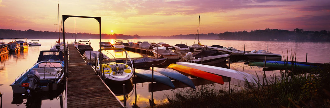 Boats in a lake at sunset, Lake Champlain, Vermont, USA