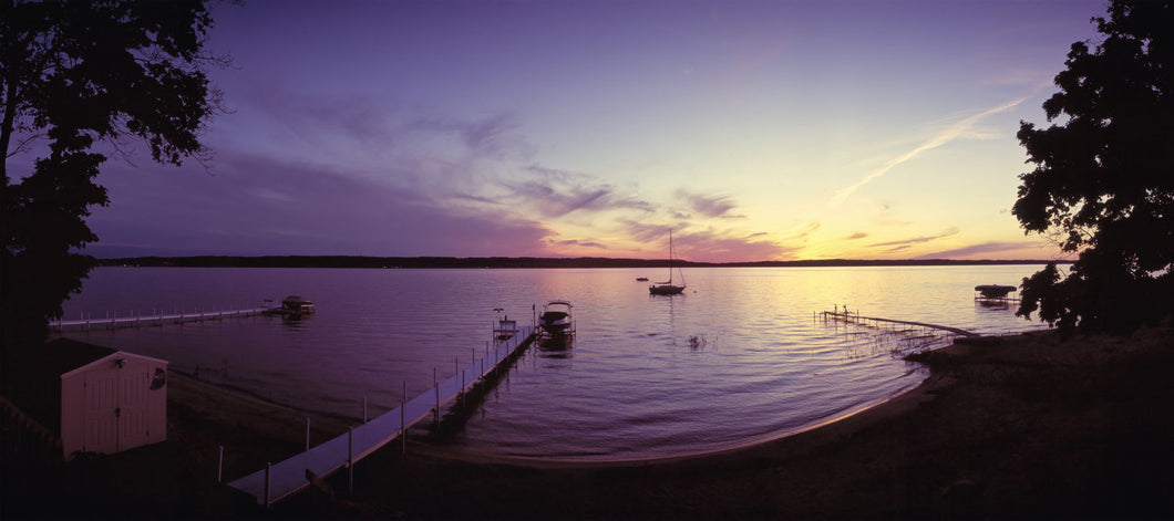 Piers on the bay, Old Mission Peninsula, Grand Traverse Bay, Grand Traverse County, Michigan, USA