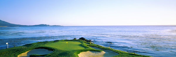 Sand traps in a golf course, Pebble Beach Golf Course, Pebble Beach, Monterey County, California, USA