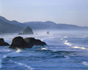 Haystack Rocks in Cannon Beach from Ecola State Park, Clatsop County, Oregon, USA