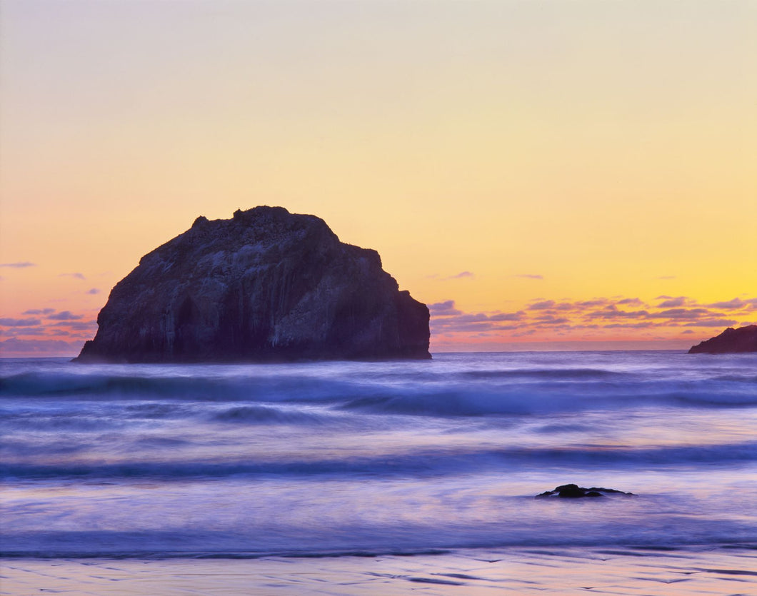 Rock formation in Pacific Ocean during sunset, Bandon, Oregon, USA