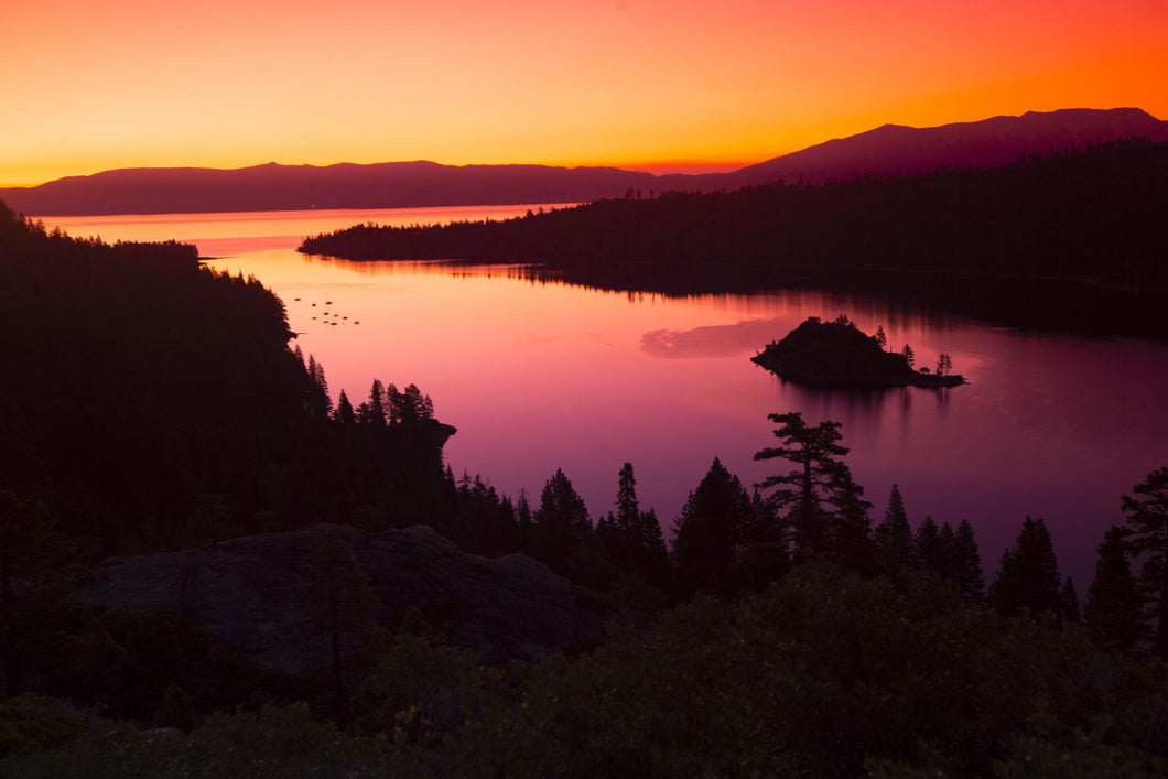 Silhouette of island in a lake, Fannette Island, Emerald Bay, Lake Tahoe, California, USA