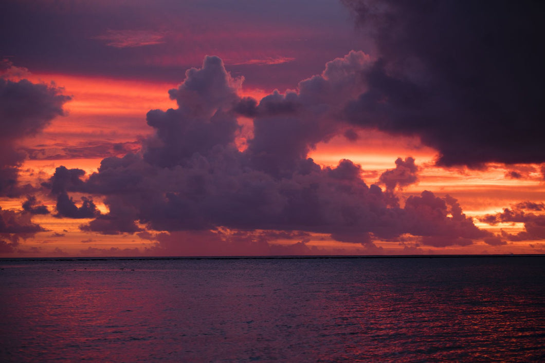 Clouds over the Pacific Ocean at sunset, Bora Bora, Society Islands, French Polynesia