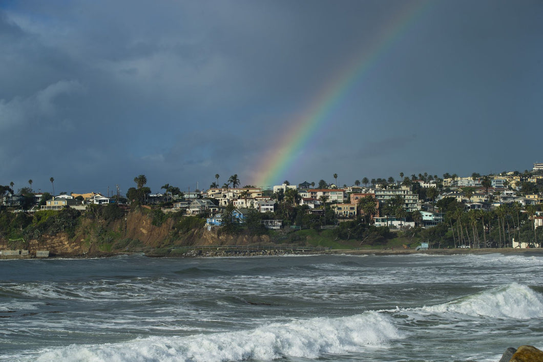 Rainbow over houses in a town, San Pedro, Los Angeles, California, USA