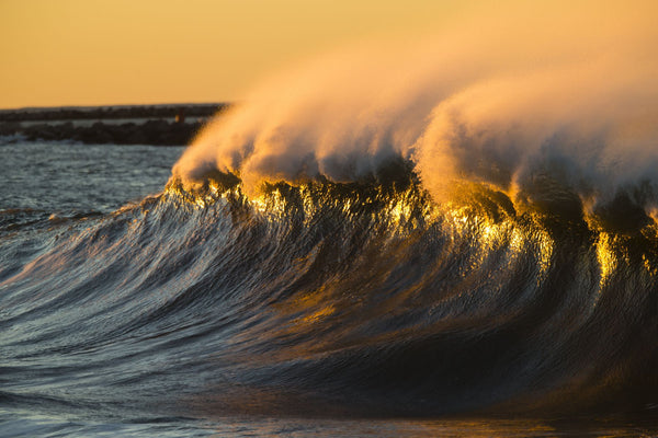 Waves in the Pacific Ocean at dusk, Seal Beach, Orange County, California, USA