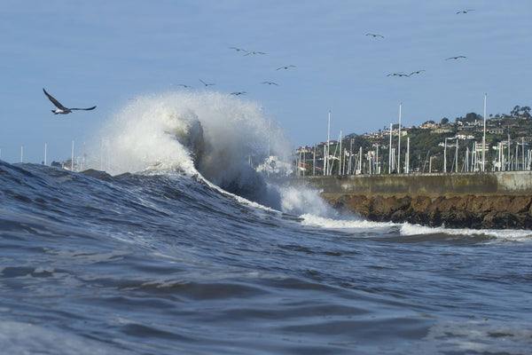Waves in the Pacific Ocean, Sandspit, Santa Barbara, Santa Barbara County, California, USA