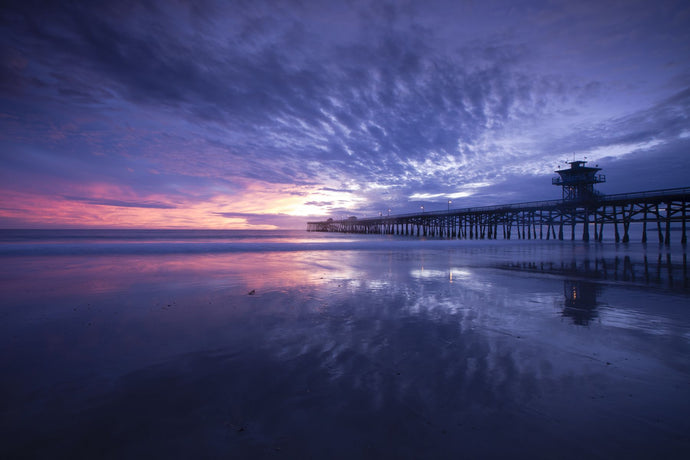Pier in the Pacific Ocean at dusk, San Clemente Pier, San Clemente, California, USA