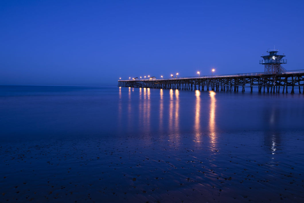 Pier in the Pacific Ocean at night, San Clemente Pier, San Clemente, California, USA