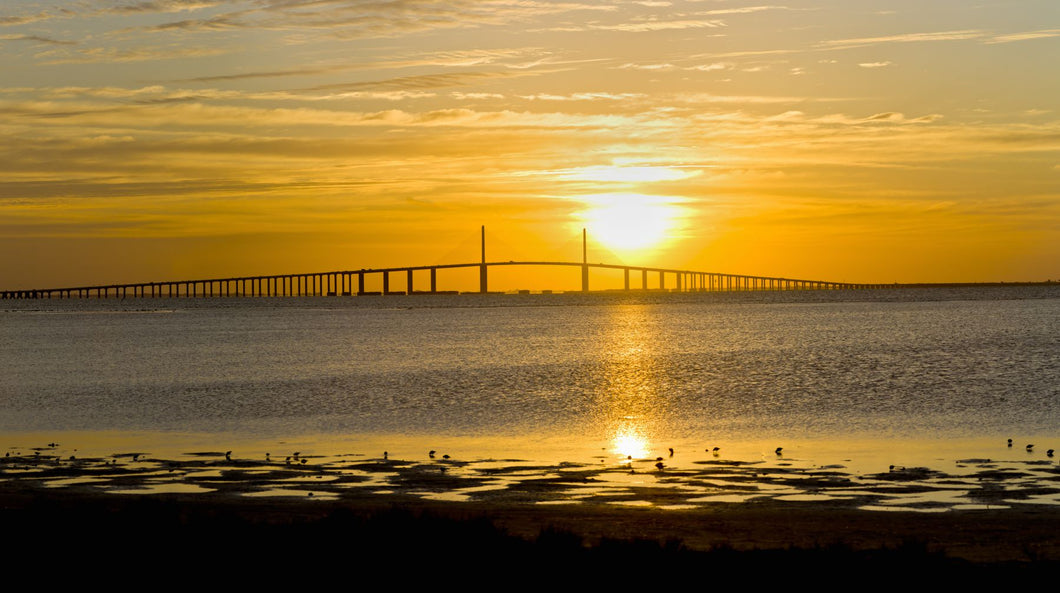 Sunrise over Sunshine Skyway Bridge, Tampa Bay, Florida, USA