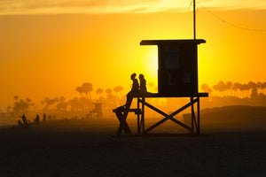 Lifeguard Tower on the beach, Newport Beach, California, USA