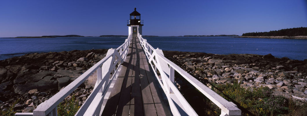 Lighthouse on the coast, Marshall Point Lighthouse, built 1832, rebuilt 1858, Port Clyde, Maine, USA