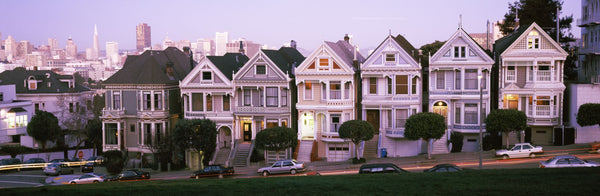 Row houses in a city, Postcard Row, The Seven Sisters, Painted Ladies, Alamo Square, San Francisco, California, USA