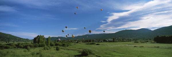 Hot air balloons rising, Hot Air Balloon Rodeo, Steamboat Springs, Routt County, Colorado, USA