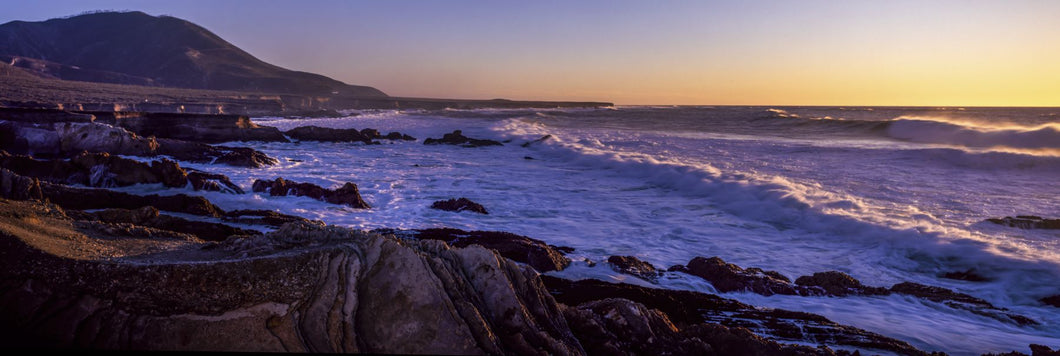 Rocky coastline at sunset, Montana de Oro State Park, Morro Bay, California, USA
