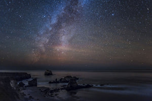 Scenic view of beach against star field at night, Sand Dollar Beach, Plaskett Creek, Big Sur, California, USA