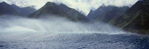 Rolling waves with mountains in the background, Tahiti, Society Islands, French Polynesia