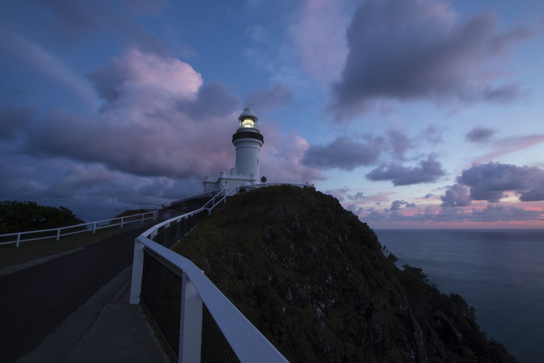 Lighthouse at sunset, Cape Byron Lighthouse, Cape Byron, New South Wales, Australia