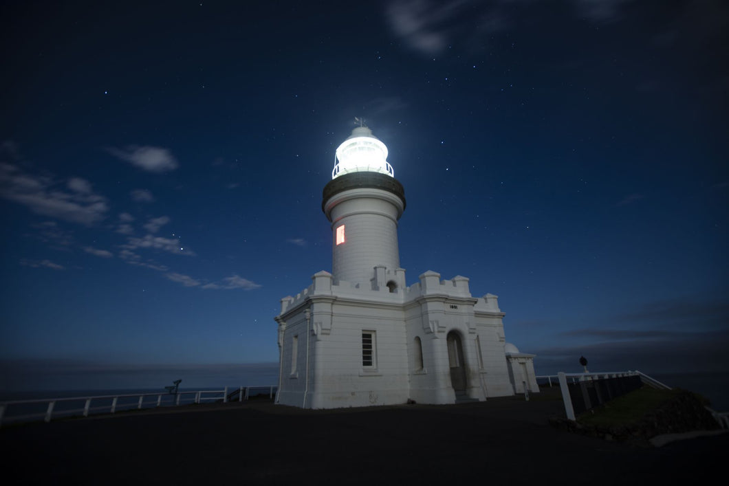 Lighthouse lit up at night, Cape Byron Lighthouse, Cape Byron, New South Wales, Australia