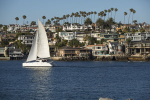 Sailboat in the Pacific Ocean, Newport Beach, Orange County, California, USA
