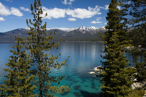 Lake with mountain range in the background, Lake Tahoe, California, USA