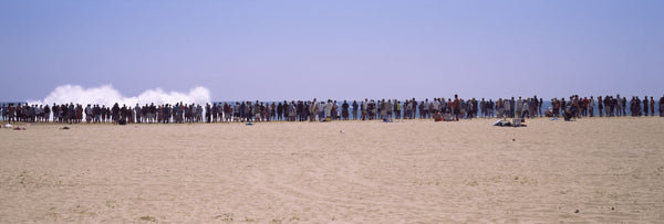 People watching the waves on the beach, Newport Beach, Orange County, California, USA