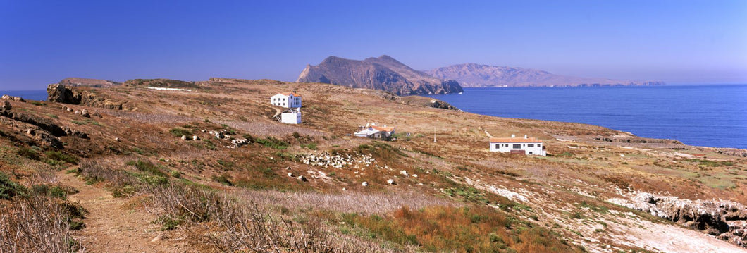 Small houses at coast, Anacapa Island, Santa Cruz Island, California, USA