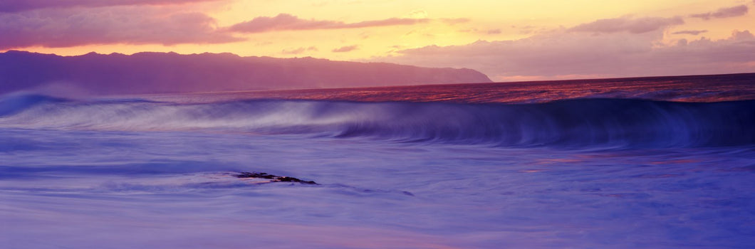 Surf in the ocean at sunset, Oahu, Hawaii, USA