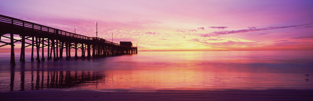 Silhouette of a pier at sunset, Newport Pier, Newport Beach, Balboa Peninsula, California, USA